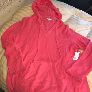 NWT crown & Ivy XL coral pullover popover new